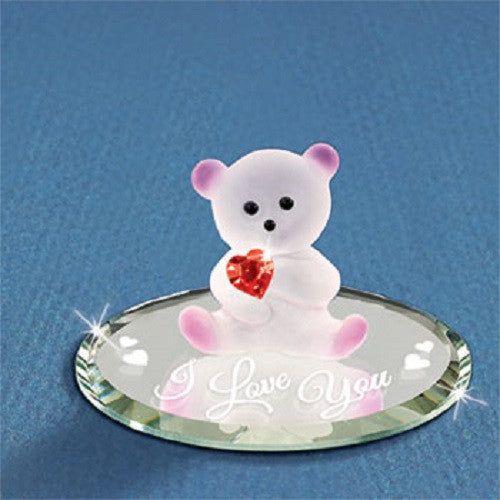 "Glass Baron Bear With Crystal Heart ""I Love You"""