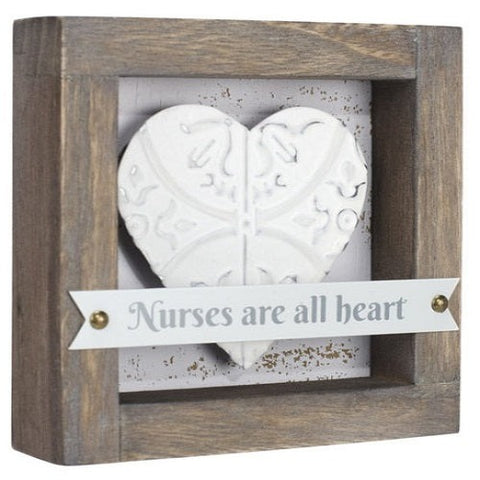 "Malden ""Nurses are all heart"" Wood Plaque"