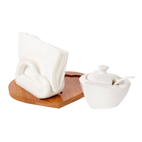 Italian Porcelain Napkin And Sugar Holder Set On Wood Base