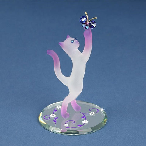 Glass Baron Princess Cat with Butterfly Figurine