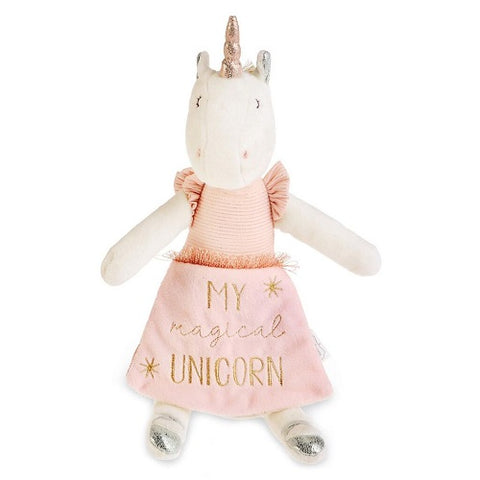 Mud Pie Ivory & Pink Plush Unicorn Doll with Book 13.5""