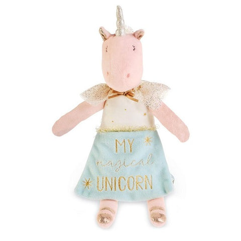 Mud Pie Pink & Blue Plush Unicorn Doll with Book 13.5""