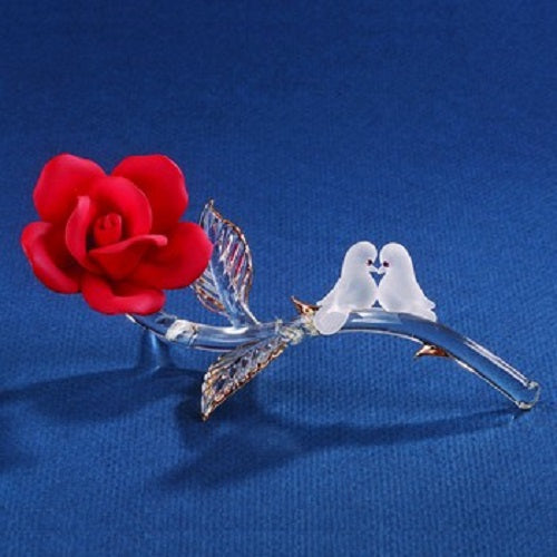 Glass Baron Red Rose with Doves