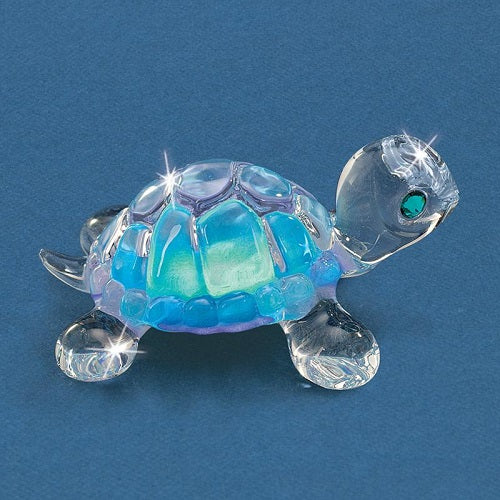 Glass Baron Turtle Figurine - Blue