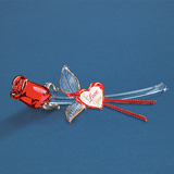 "Glass Baron Glass Red Rose ""I Love You"""