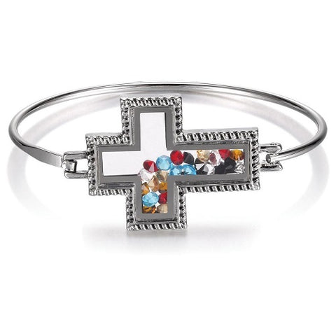Silver Christ's Story Cross Bangle Bracelet