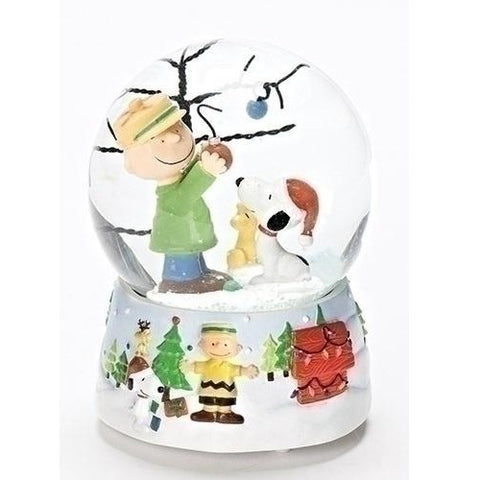 Roman Charlie Brown And Snoopy O Christmas Tree Musical Water Globe