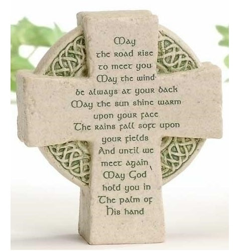 "Roman Celtic Cross Shaped Plaque Faithstones ""May The Road Rise"""