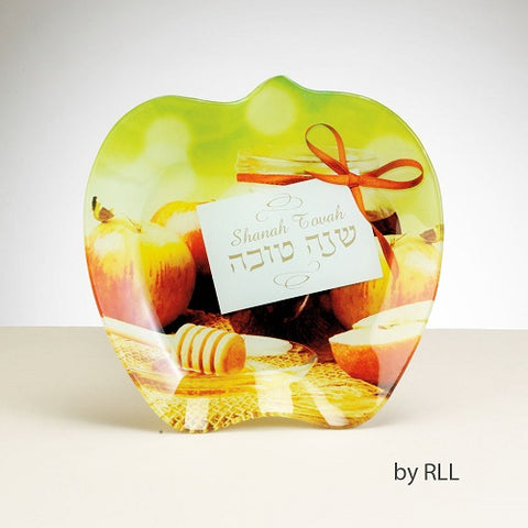 Rosh Hashana Glass Apple Plate