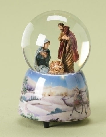 Holy Family Nativity Snow Water Globe