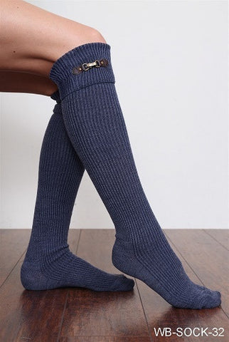 WB Tall Heathered Buckle Sock - Ria's Hallmark & Jewelry Boutique - 1