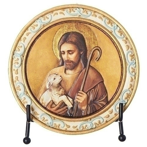 "4.5""H Jesus With Lamb Plaque by Joseph Studio"