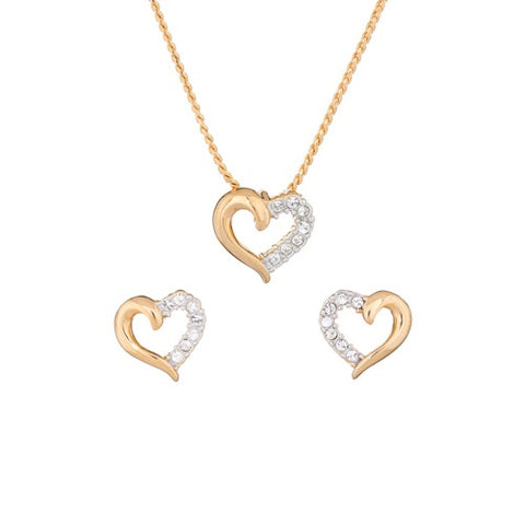 XOXO by Annaleece Swarovski Crystal Gold Heart Necklace and Earring Set
