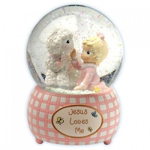 Precious Moments Jesus Loves Me Girl Musical Lamb Water Globe - Ria's Hallmark & Jewelry Boutique