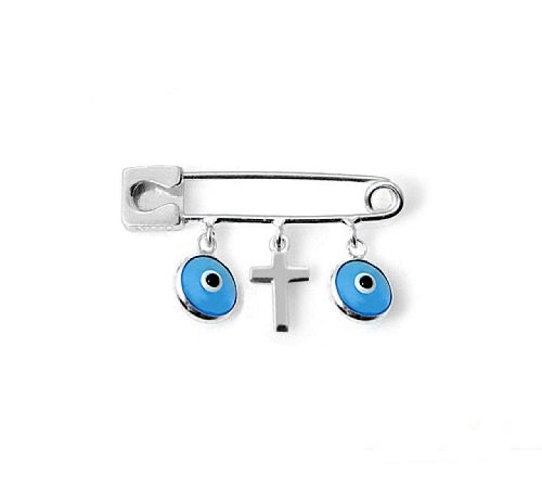 Sterling Silver Cross Baby Pin with Evil Eyes