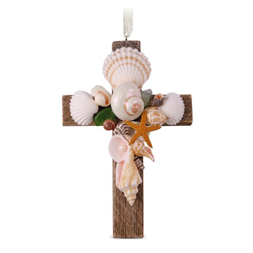 Cross of the Sea Porcelain Ornament