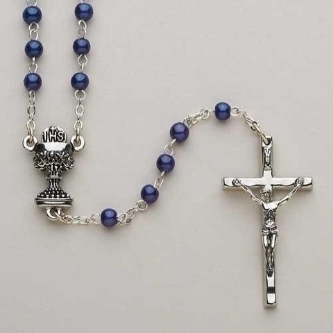 Dark Blue Communion Rosary by Roman Inc - Ria's Hallmark & Jewelry Boutique