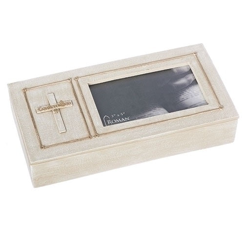 "Roman Keepsake Confirmation Box with Cross and Frame 1.75"" H"