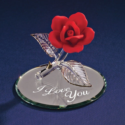 "Glass Baron ""I Love You"" Red Rose on Mirror"
