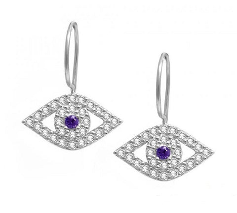 Evil Eye Earrings with Amethyst Stones