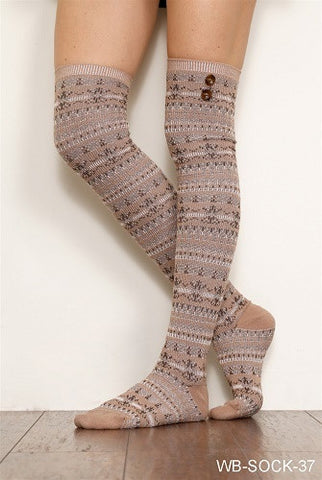 WB Tall Aztec Button Sock - Ria's Hallmark & Jewelry Boutique - 1