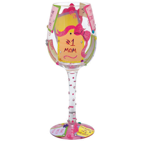 LOLITA WINE GLASS #1 MOM - Ria's Hallmark & Jewelry Boutique