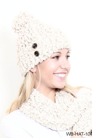 WB Shearling Hat With Buttons - Ria's Hallmark & Jewelry Boutique - 1