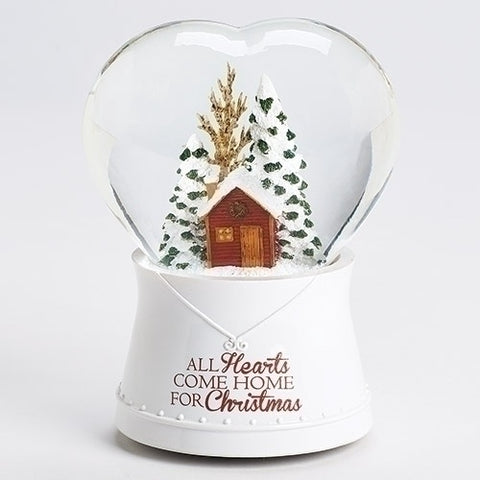 "Roman Musical Heart With House ""All Hearts Come Home For Christmas"" Glitterdome"