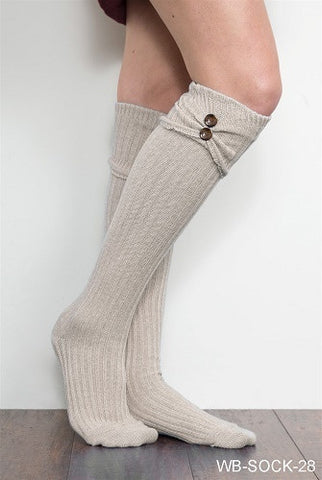 WB Tall Scrunch Button Sock - Ria's Hallmark & Jewelry Boutique - 1