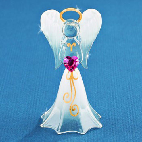 Glass Baron White Angel with Crystal Heart Figurine - Ria's Hallmark & Jewelry Boutique