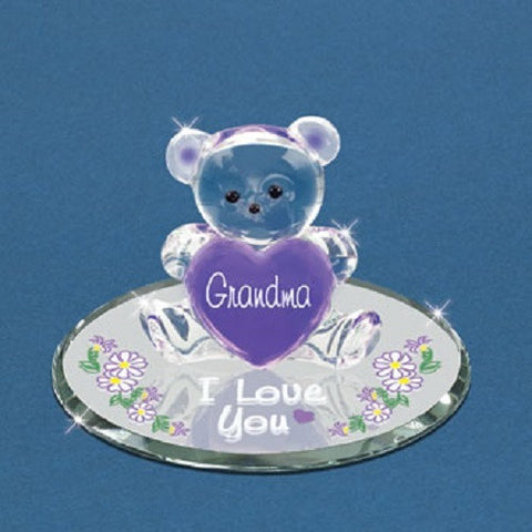 "Glass Baron ""Grandma, I Love You"" Bear Purple"