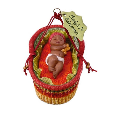 African-American Baby's First Christmas 2018 Porcelain Ornament - Ria's Hallmark & Jewelry Boutique