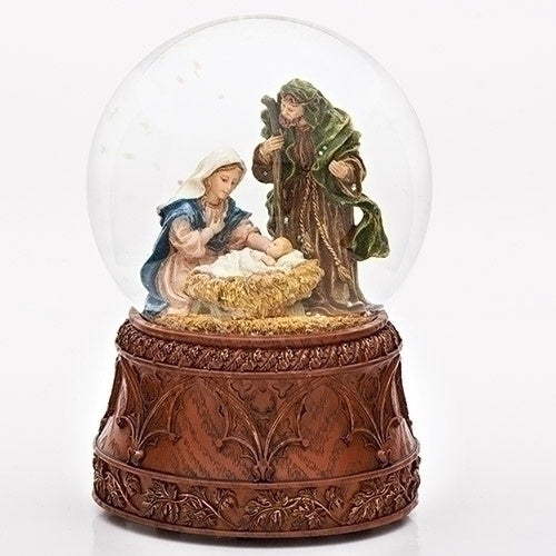Roman Inc Holy Family Glitterdome (Carved Wood Base)