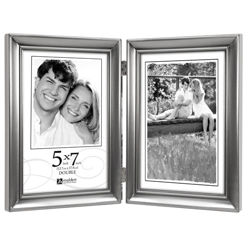 Malden Concourse Pewter Hinged Picture Frame Double Vertical - Ria's Hallmark & Jewelry Boutique
