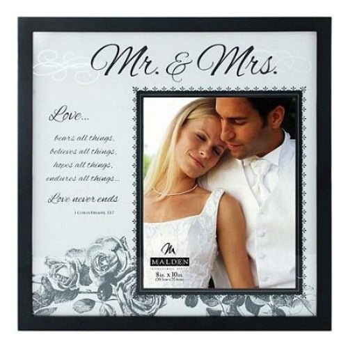 Malden ''Mr. & Mrs.'' 8'' x 10'' Frosted Glass Frame - Ria's Hallmark & Jewelry Boutique
