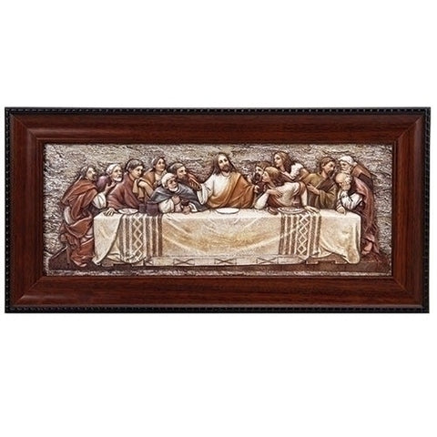 "Roman 7""H Last Supper Plaque with Frame"