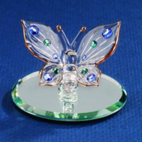GLASS BARON BUTTERFLY, BLUE CRYSTALS - Ria's Hallmark & Jewelry Boutique