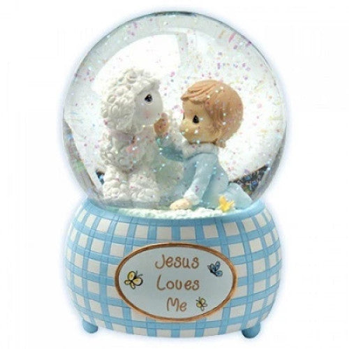 Precious Moments Jesus Love Me Boy Musical Lamb Water Globe - Ria's Hallmark & Jewelry Boutique