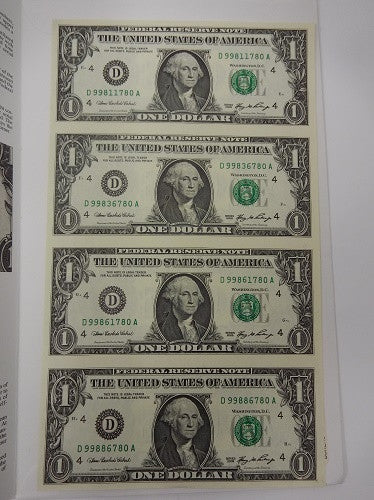 Four Uncut One Dollar Bills In BEP Folder - Series 2006 Cleveland