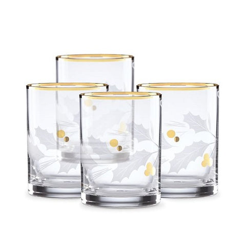 Holiday™ Gold Double Old Fashioned 4-piece Glass Set
