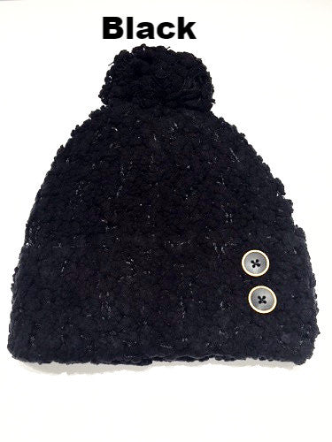 WB Shearling Hat With Buttons - Ria's Hallmark & Jewelry Boutique - 2