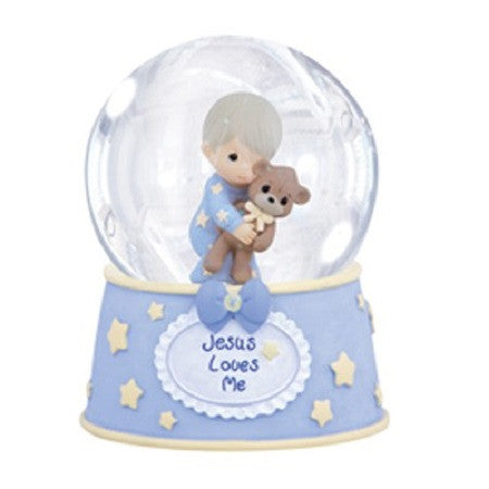 Precious Moments Jesus Love Me Boy Musical  Water Globe - Ria's Hallmark & Jewelry Boutique