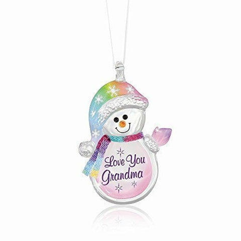 Glass Baron Love You Grandma Snowman Ornament