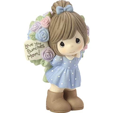 "Precious Moments ""Love You Bunches, Mom!"", Bisque Porcelain Figurine, Girl"