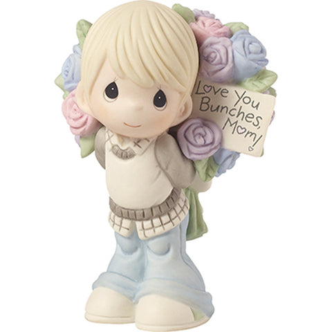 "Precious Moments ""Love You Bunches, Mom!"", Bisque Porcelain Figurine, Boy"