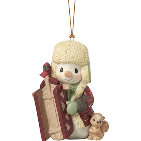 Precious Moments Snowman Sledding Friends Ornament