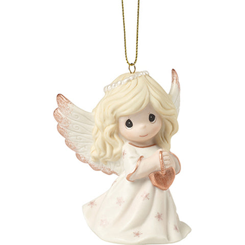 Precious Moments Angel Holding a Heart Christmas Ornament