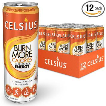 Celsius Sparkling Orange, 12-Ounce (Pack of 12)