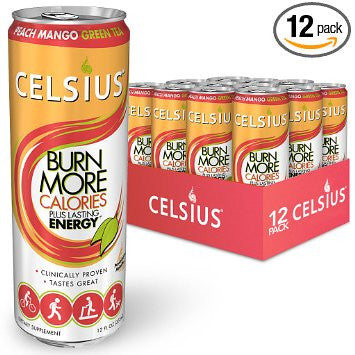 Celsius Green Tea, Peach Mango, 12 Ounce (Pack of 12)