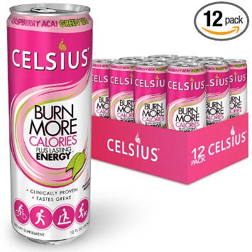 Celsius Raspberry Acai Green Tea, 12-Ounce Cans (Pack of 12)